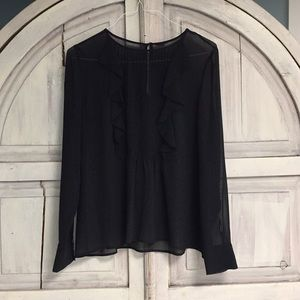 Tops - Black Sheer Long Sleeve Blouse